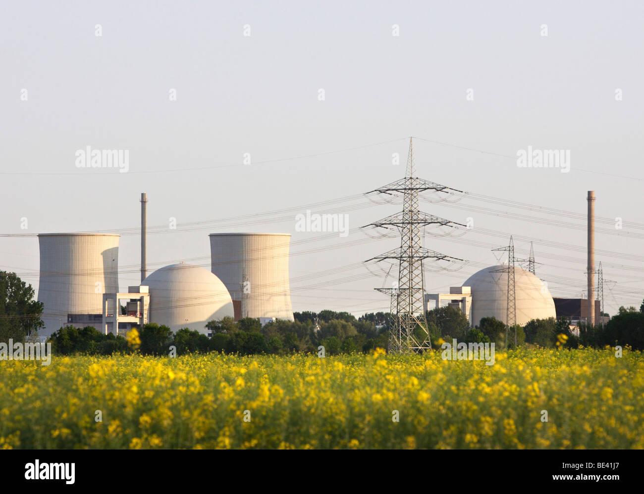 Kernkraftwerk Biblis . Das Kraftwerk wird von der RWE betrieben. Stock Photo
