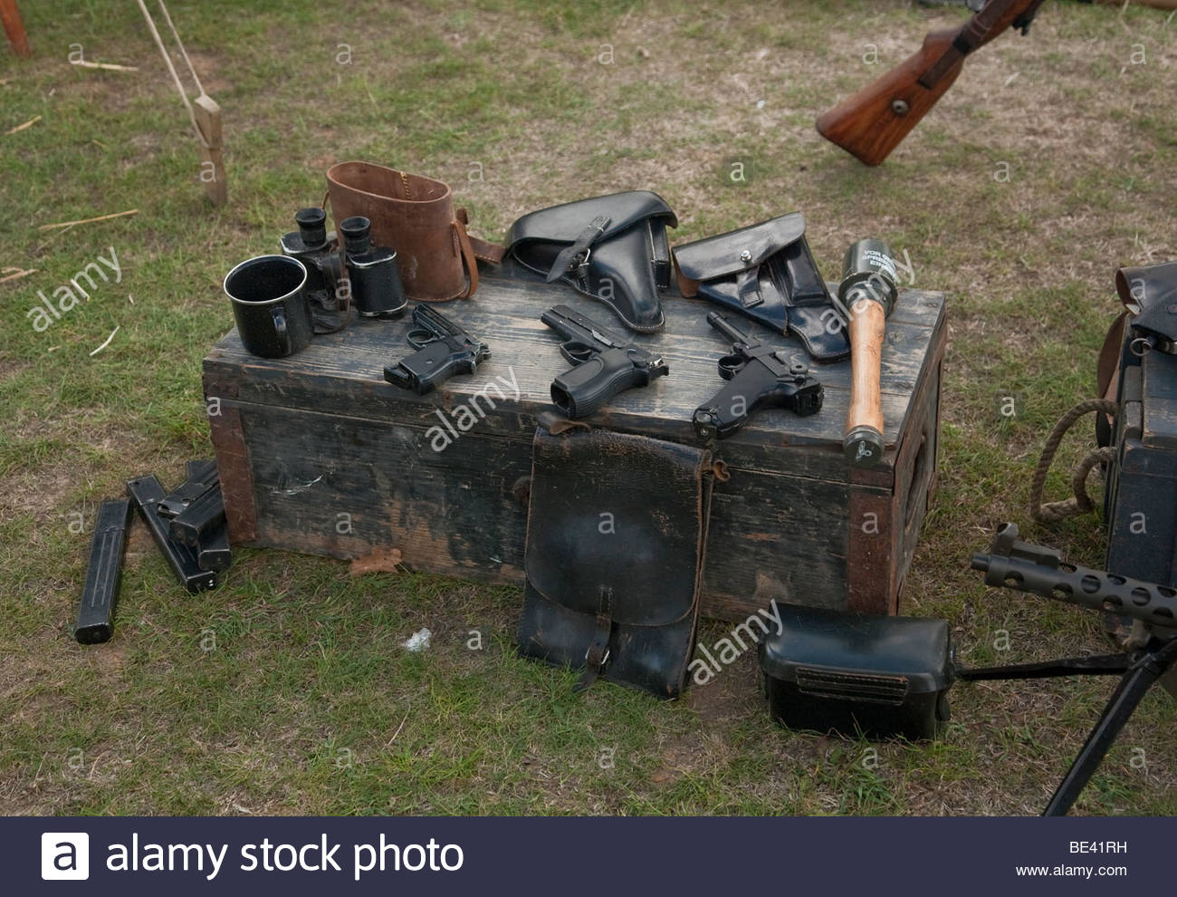 a collection of german second world war guns - Stock Image