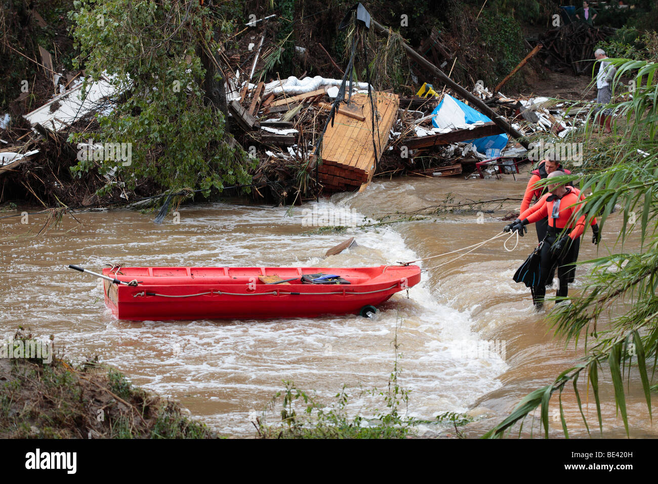 Search and Rescue team on swollen river, following floods near St Maxime, Provence, South of France. - Stock Image