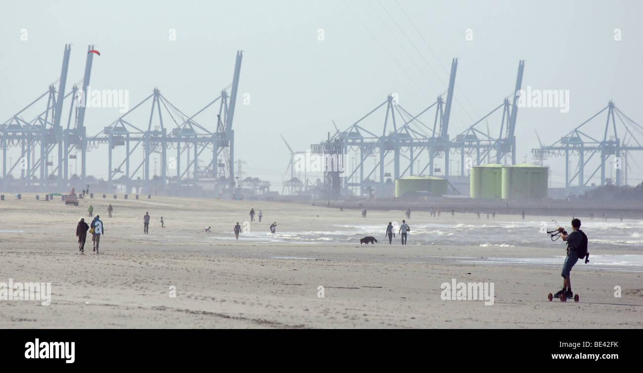 Man powerkiting sailing parasailing at sand beach Hoek van Holland Netherlands Europoort Rotterdam harbour cranes - Stock Image