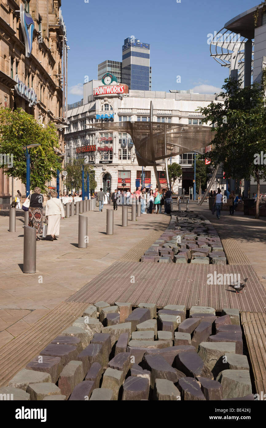 Corporation Street, Manchester, England, UK, Europe. Artificial stream with stones in Exchange Square in the city - Stock Image