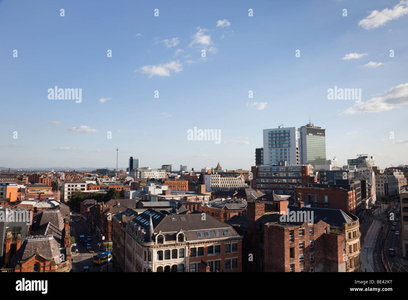 Elevated view of the city skyline near the centre of Manchester, England, UK, Britain. - Stock Image