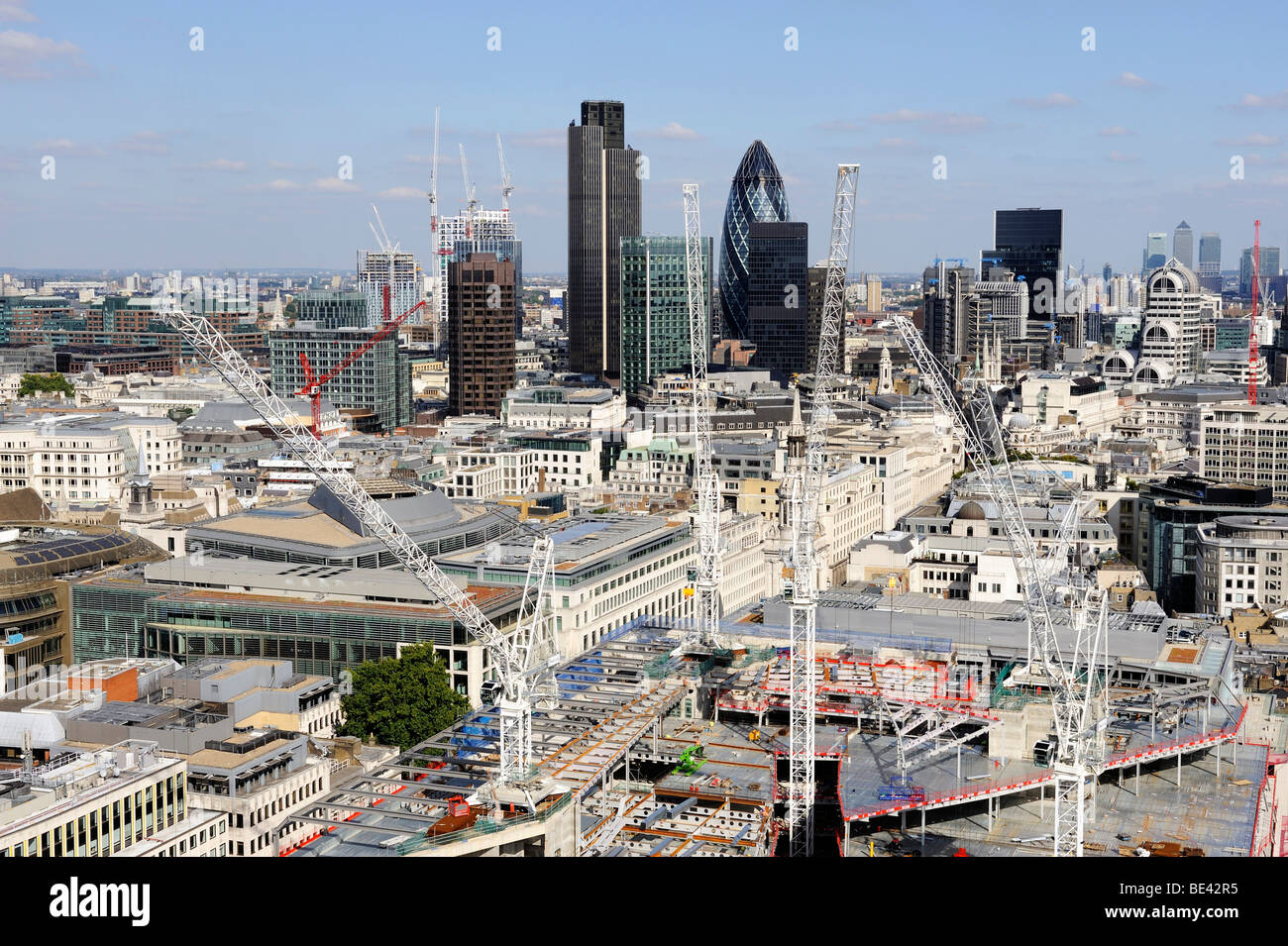 View over the city of London with an office building construction site, England, United Kingdom, Europe - Stock Image