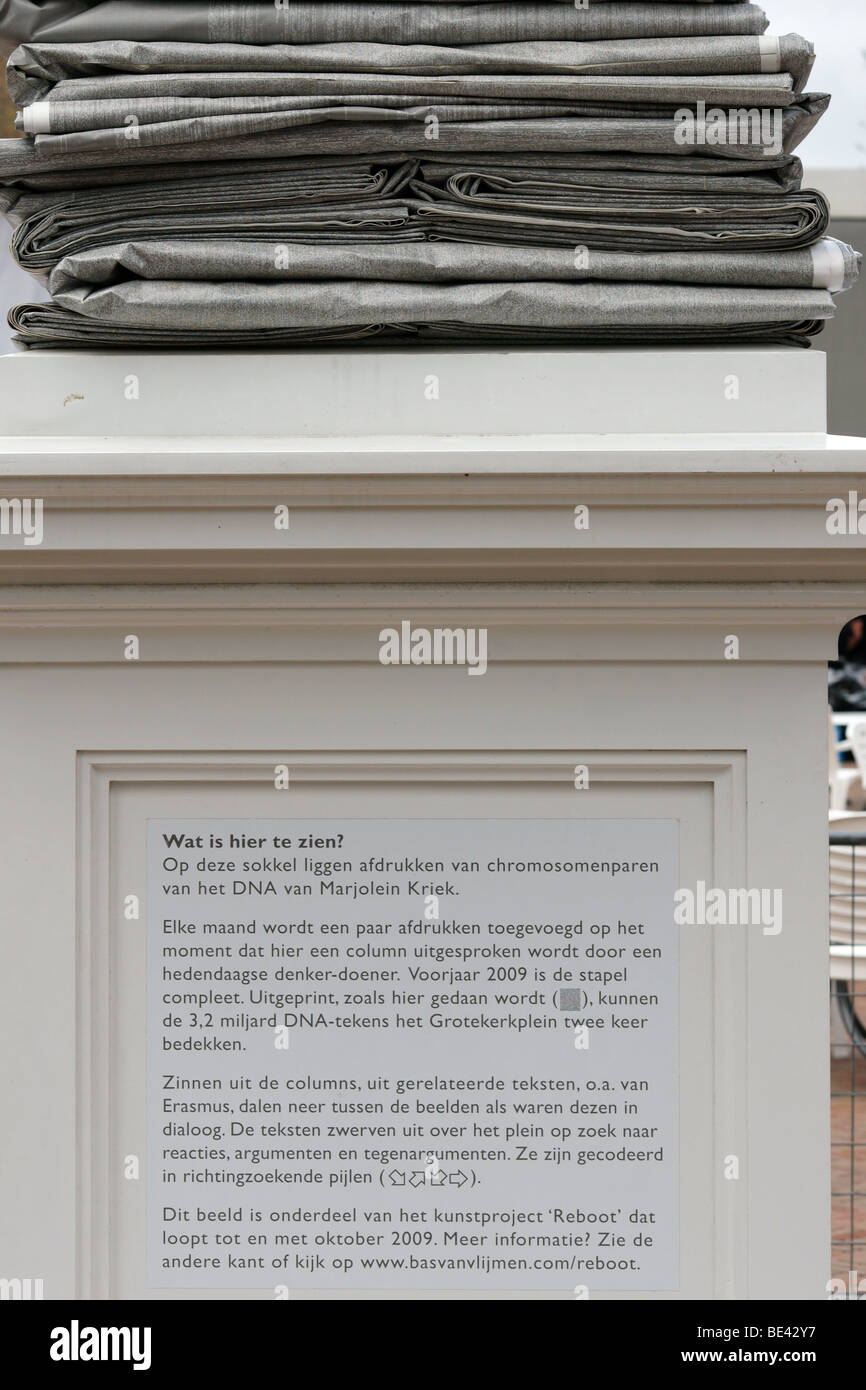 Marjolein Krieg sequenced DNA listing as statue in Rotterdam Netherlands - Stock Image
