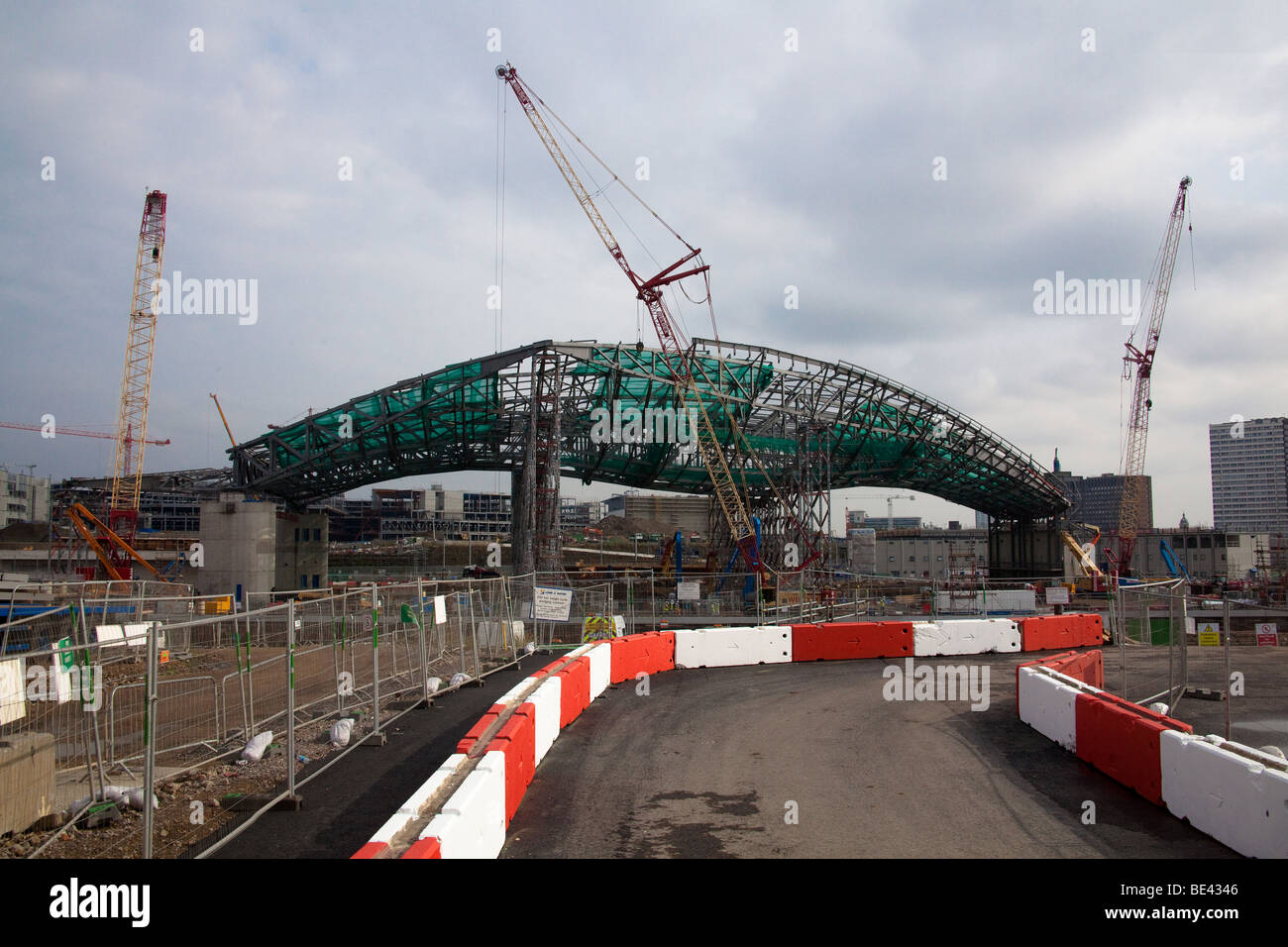 2012 London Olympic Aquatics Centre designed by the award winning architect Zaha Hadid under under construction - Stock Image