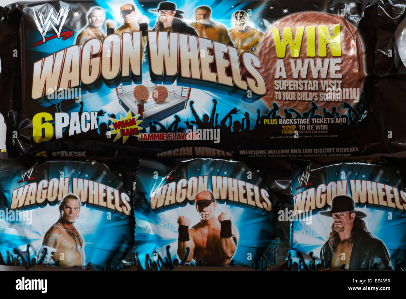 packets of Wagon Wheels biscuits - jammie flavour Stock Photo