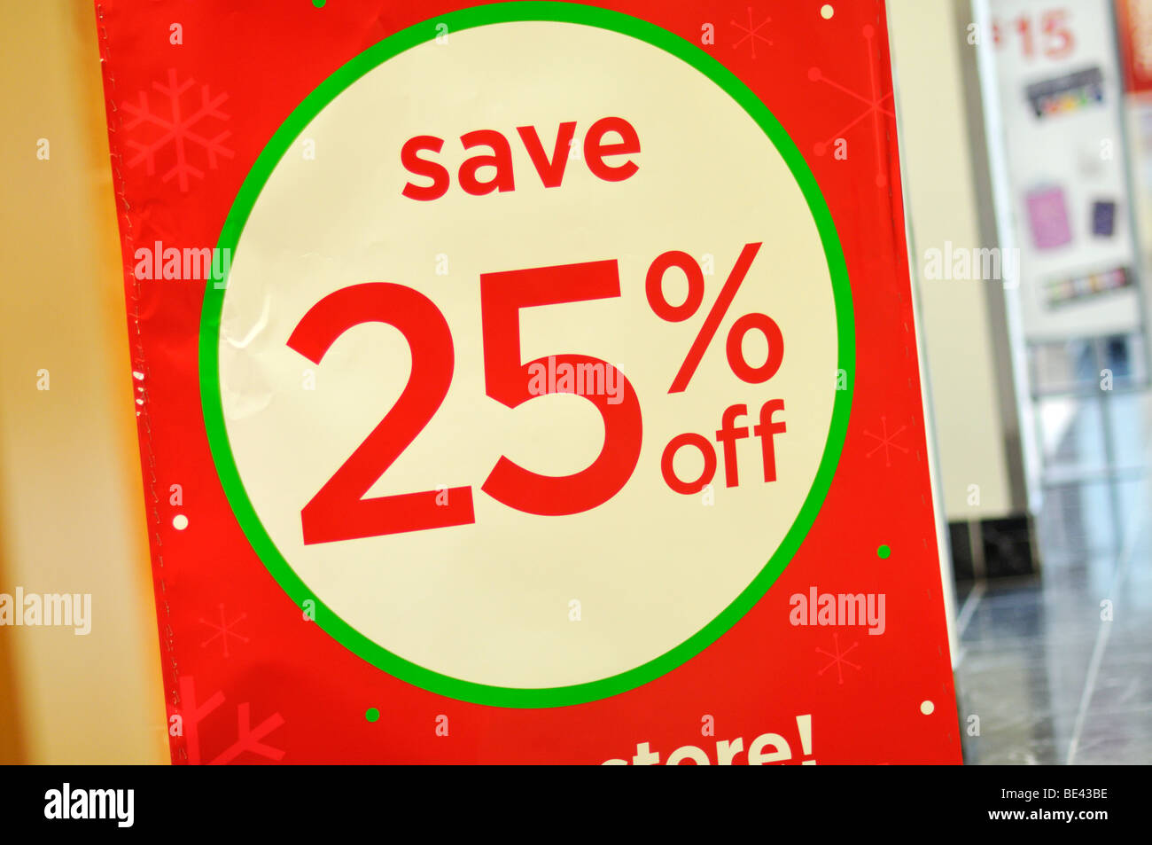 Save 25% off sign - Stock Image