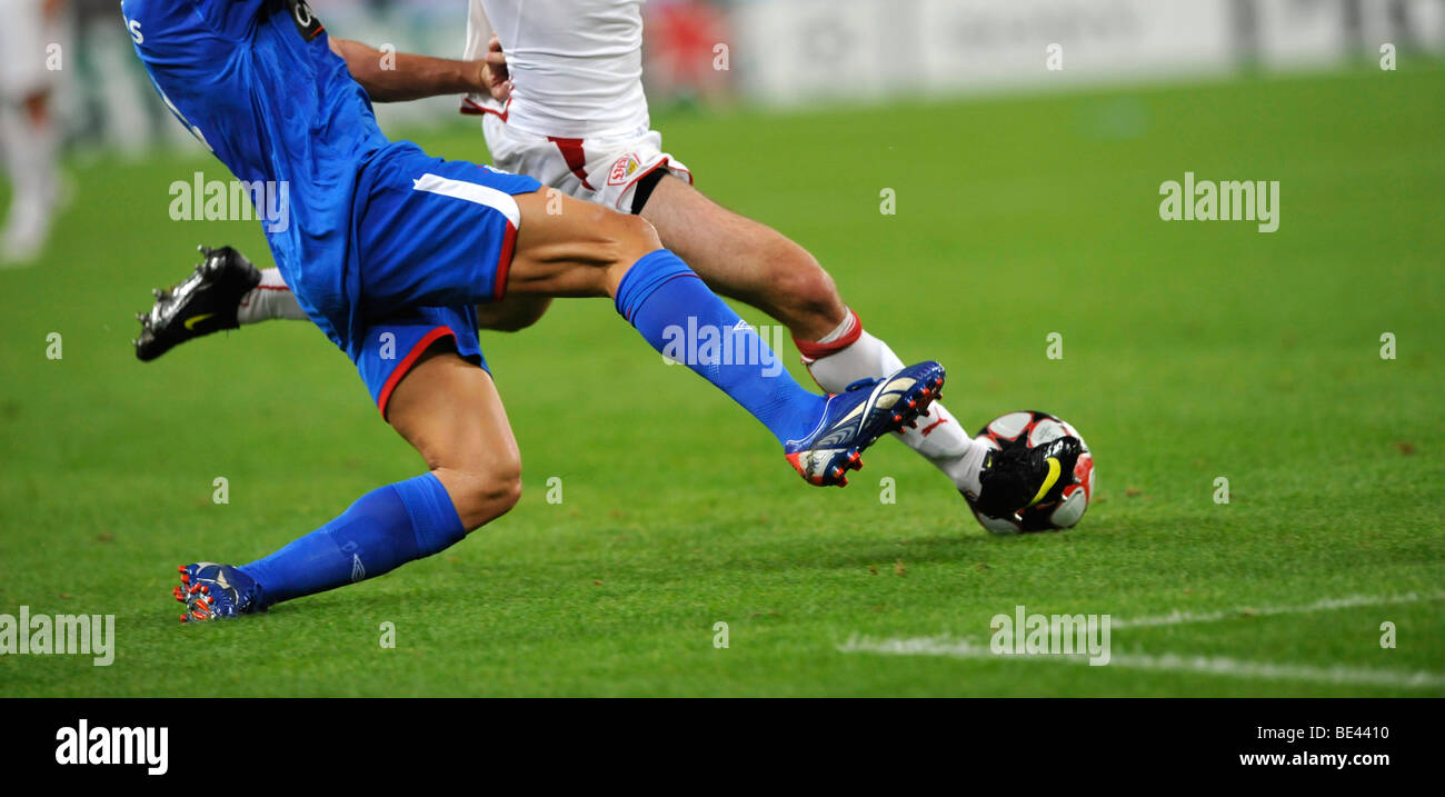 Detail duel in soccer - Stock Image