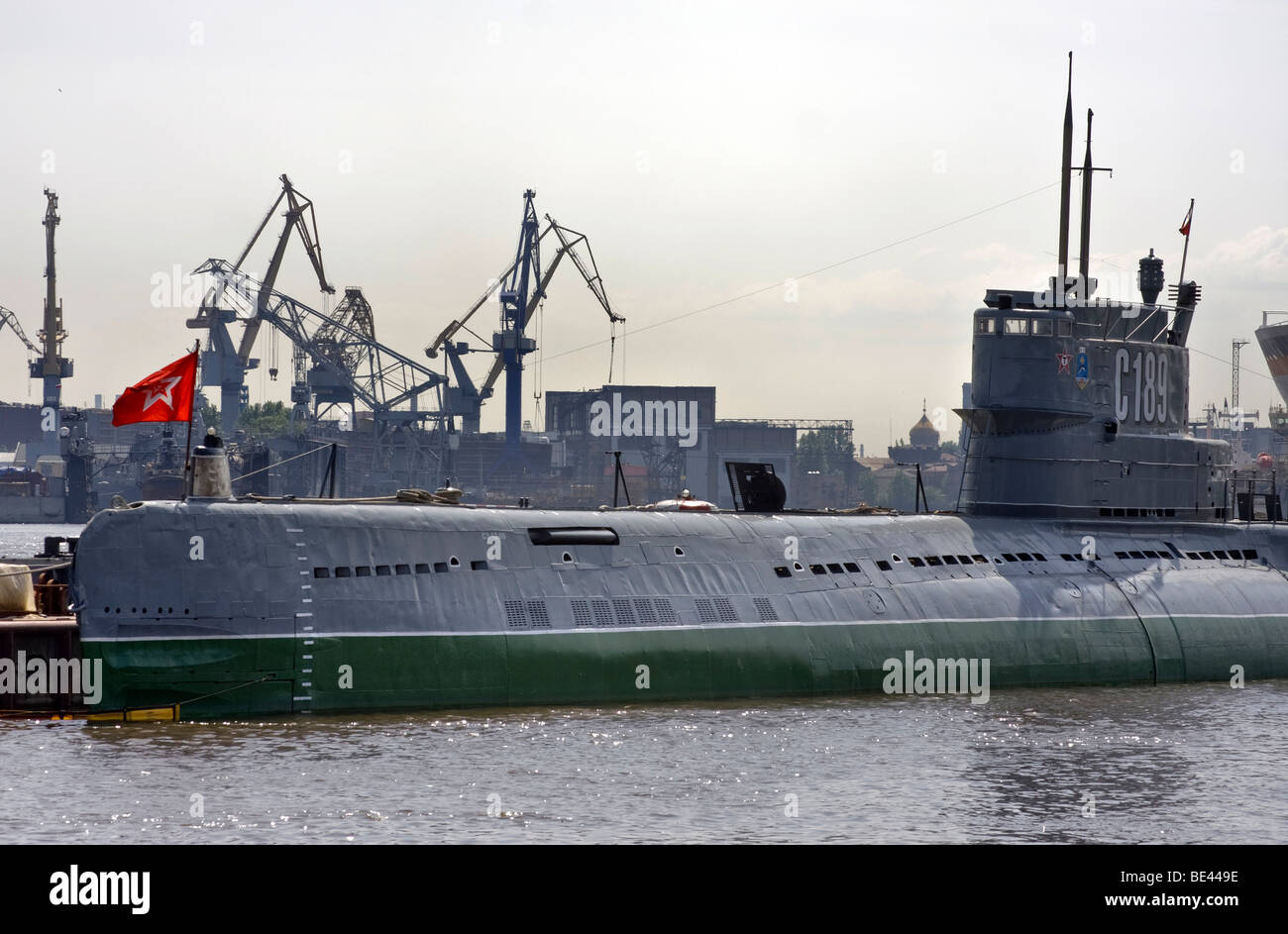 Old diesel submarine of the Soviet navy, built in 1954, now a museum, St. Petersburg, Russia - Stock Image