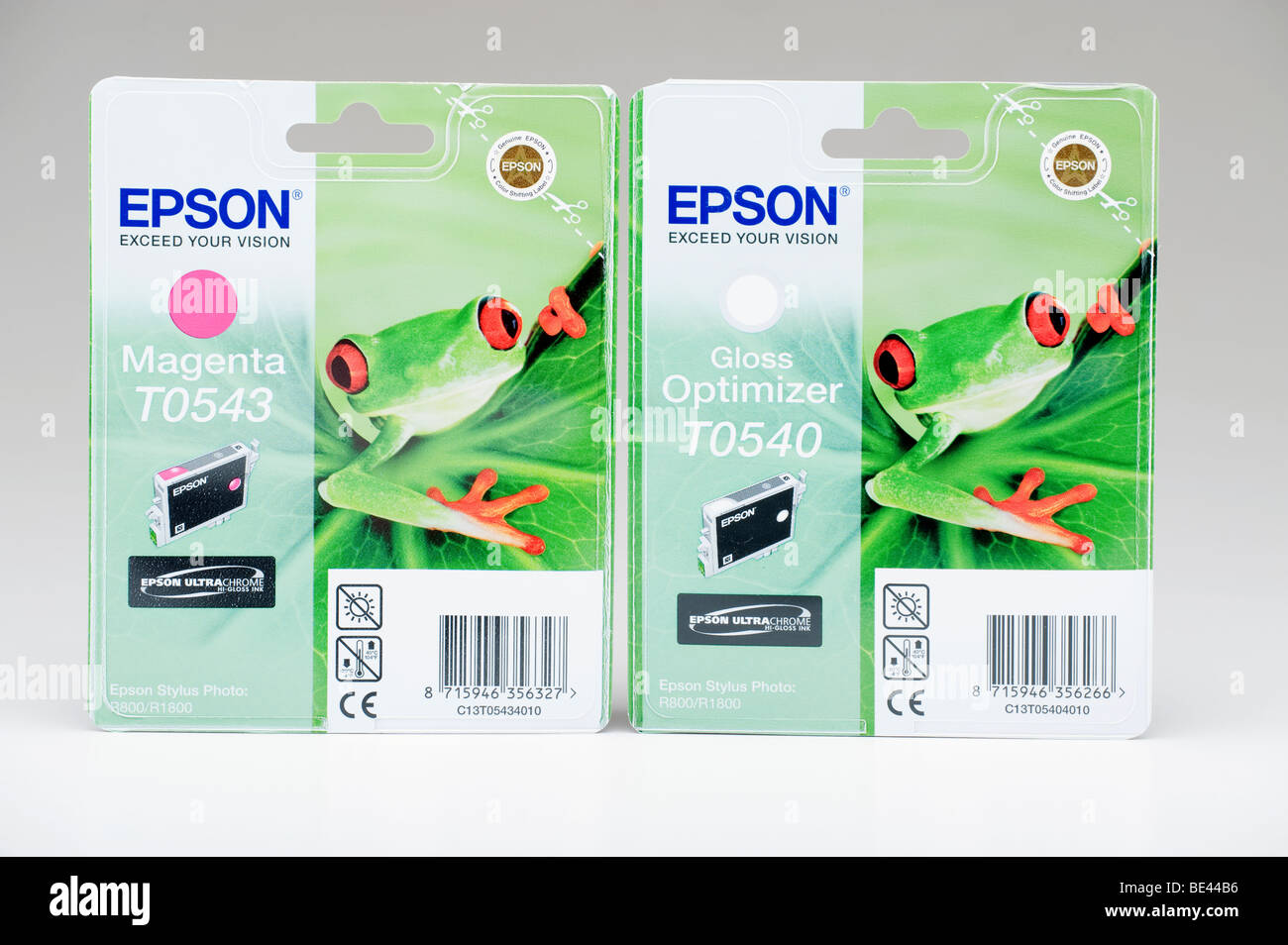 Two Epson sealed printer color cartridge packets - Stock Image