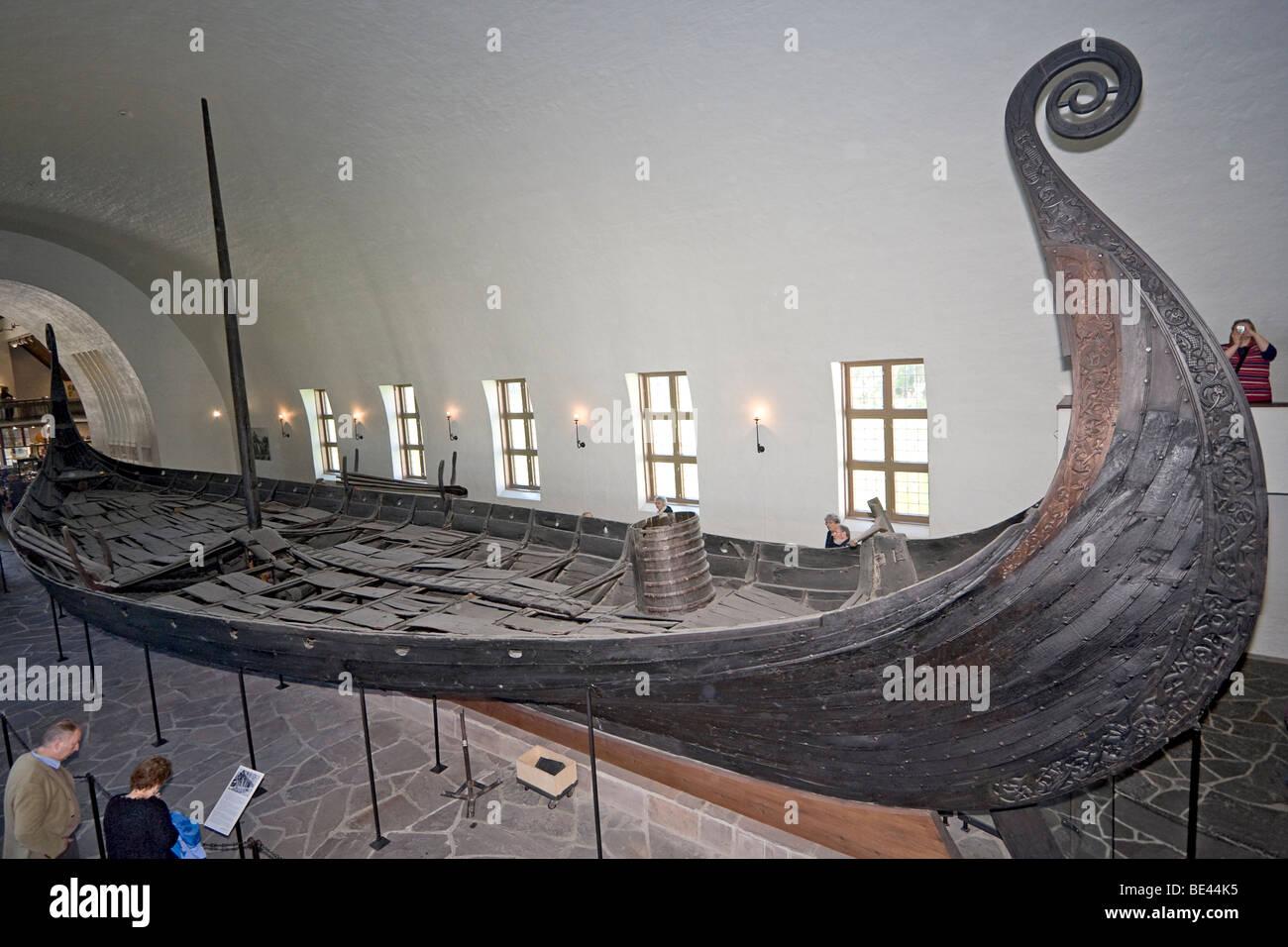 Oseburg ship in Viking Ship Museum in Oslo, Norway. - Stock Image