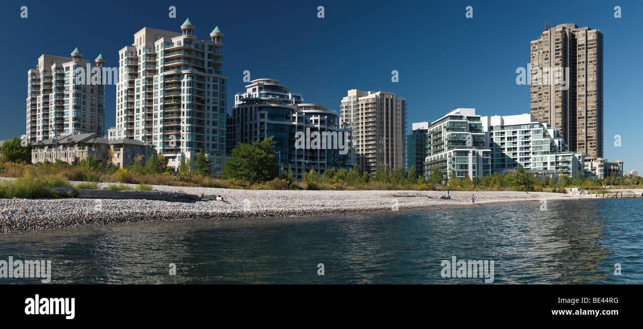 Condo buildings on a shore of the lake Ontario. South Etobicoke, Toronto, Ontario, Canada. - Stock Image