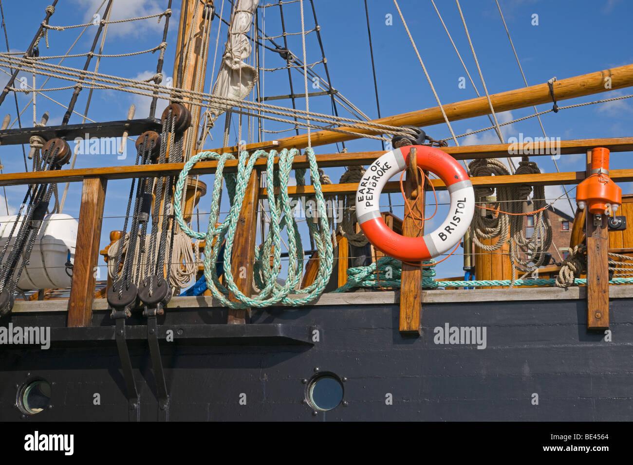 Gloucester docks, historic sailing ship, urban renewal, Gloucestershire, Cotswolds, England, July, 2009 - Stock Image