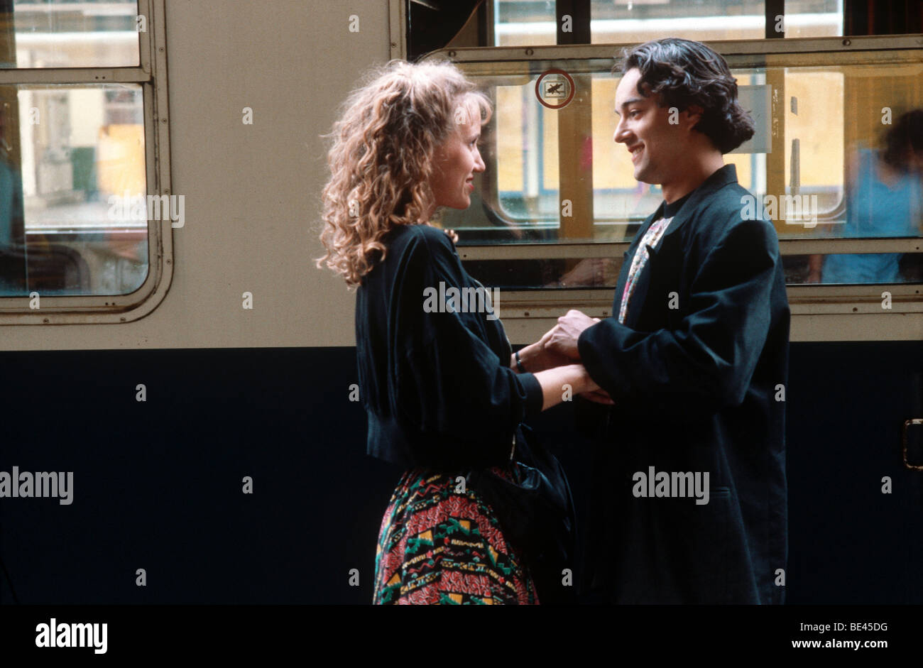 Parting at the railway station, 1980s - Stock Image