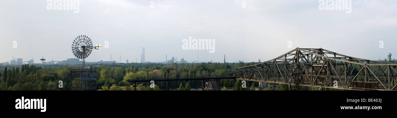 panoramic view of industrial areas at Duisburg, Ruhr area, Germany - Stock Image