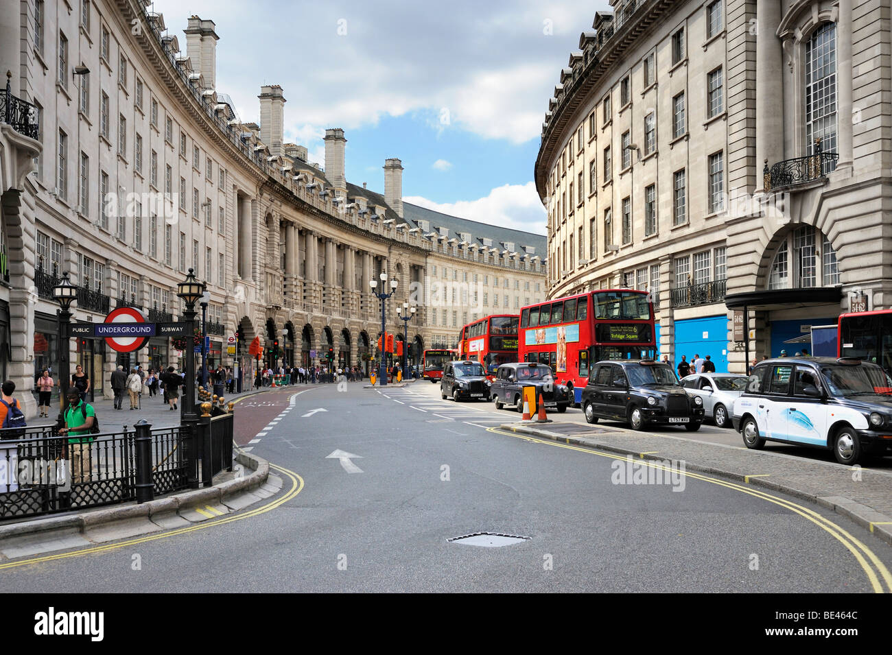 View from Piccadilly Circus into the curving Regent Street, London, England, United Kingdom, Europe - Stock Image