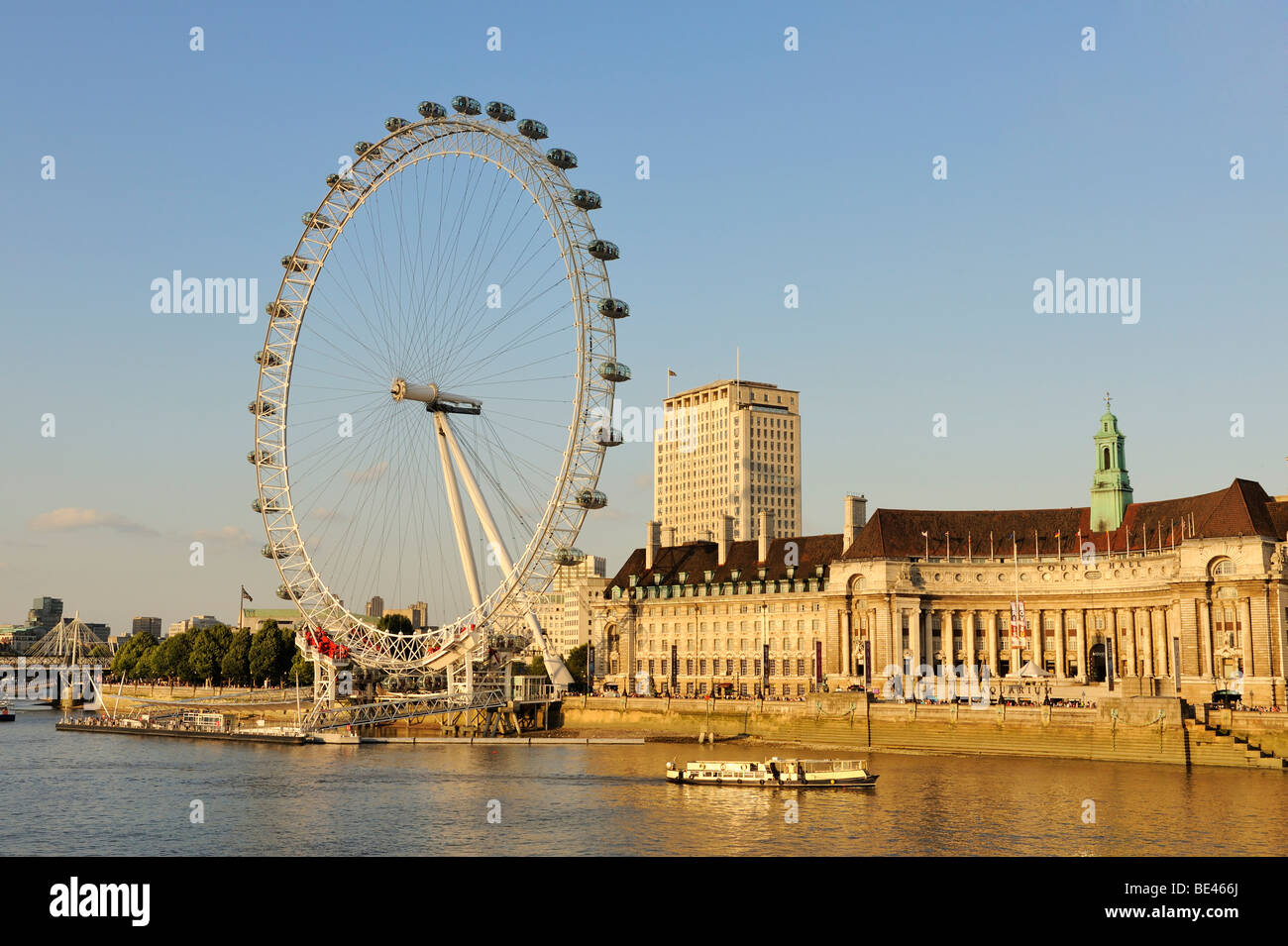View over the River Thames to the 135 meter high London Eye or Millennium Wheel, London, England, United Kingdom, Stock Photo