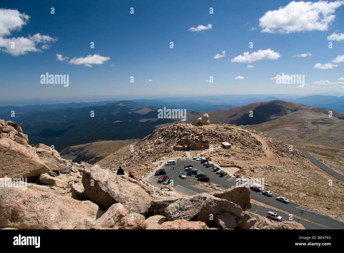 View of the Mount Evans car park, parking lot, Colorado, USA - Stock Image
