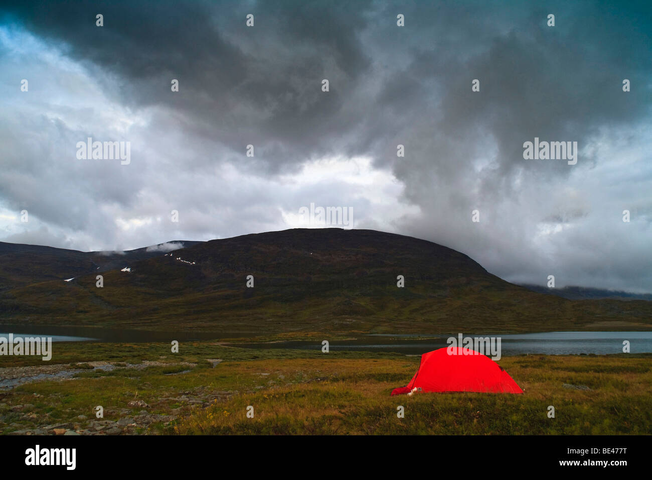 Tent at Kungsleden in Lapland, Sweden, Scandinavia, Europe - Stock Image