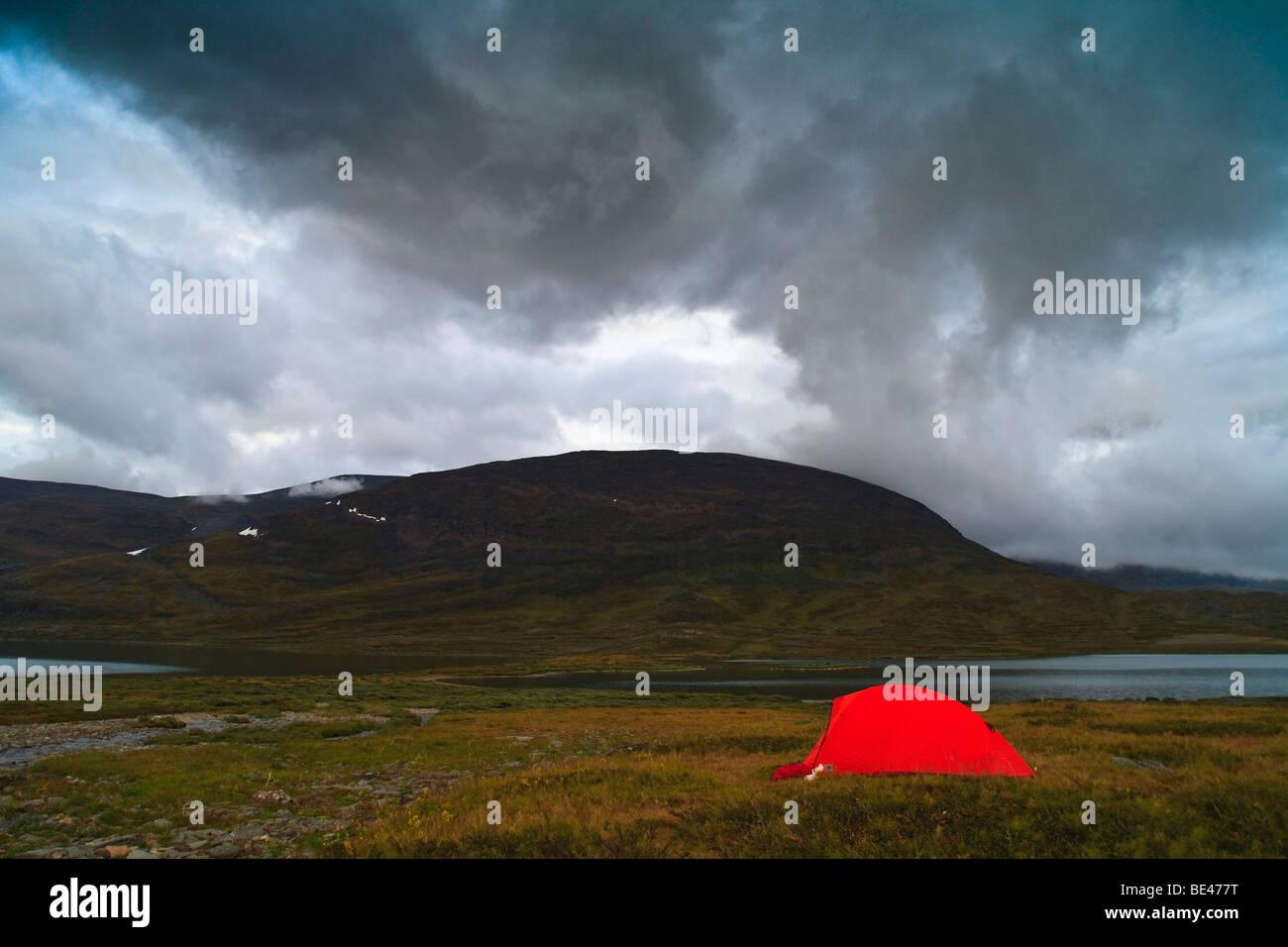 Tent at Kungsleden in Lapland, Sweden, Scandinavia, Europe - Stock Image
