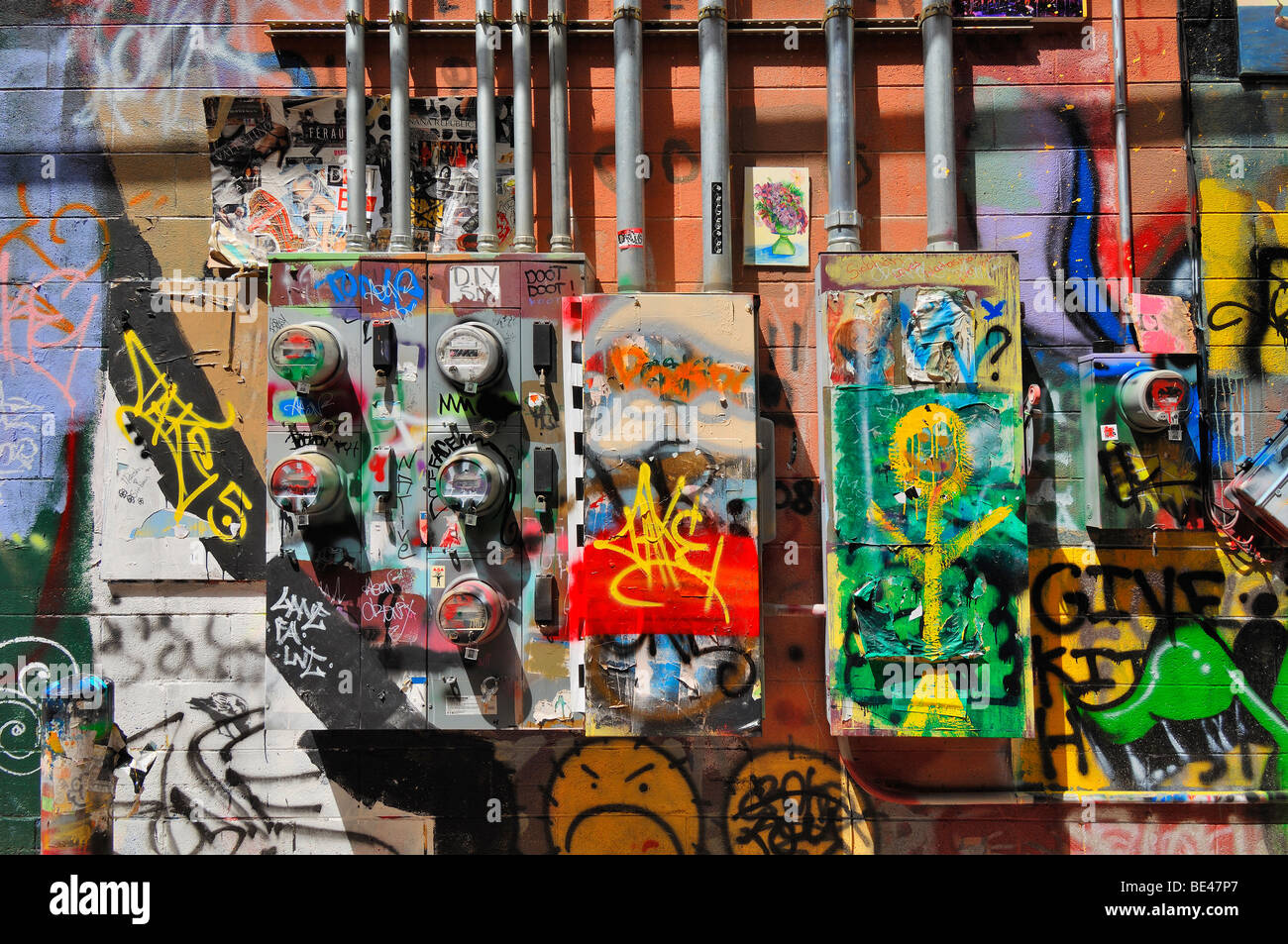 Art Alley is an ugly street in an attractive town. To overcome this problem the city authorities encouraged graffiti - Stock Image