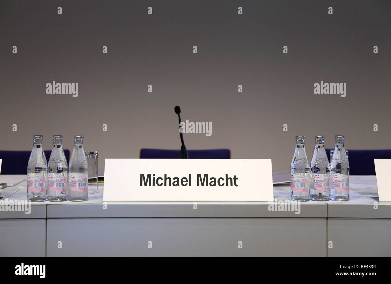 63th International Motor Show ( IAA ): Empty chair of Michael Macht, CEO of the Porsche SE, in a conference room - Stock Image