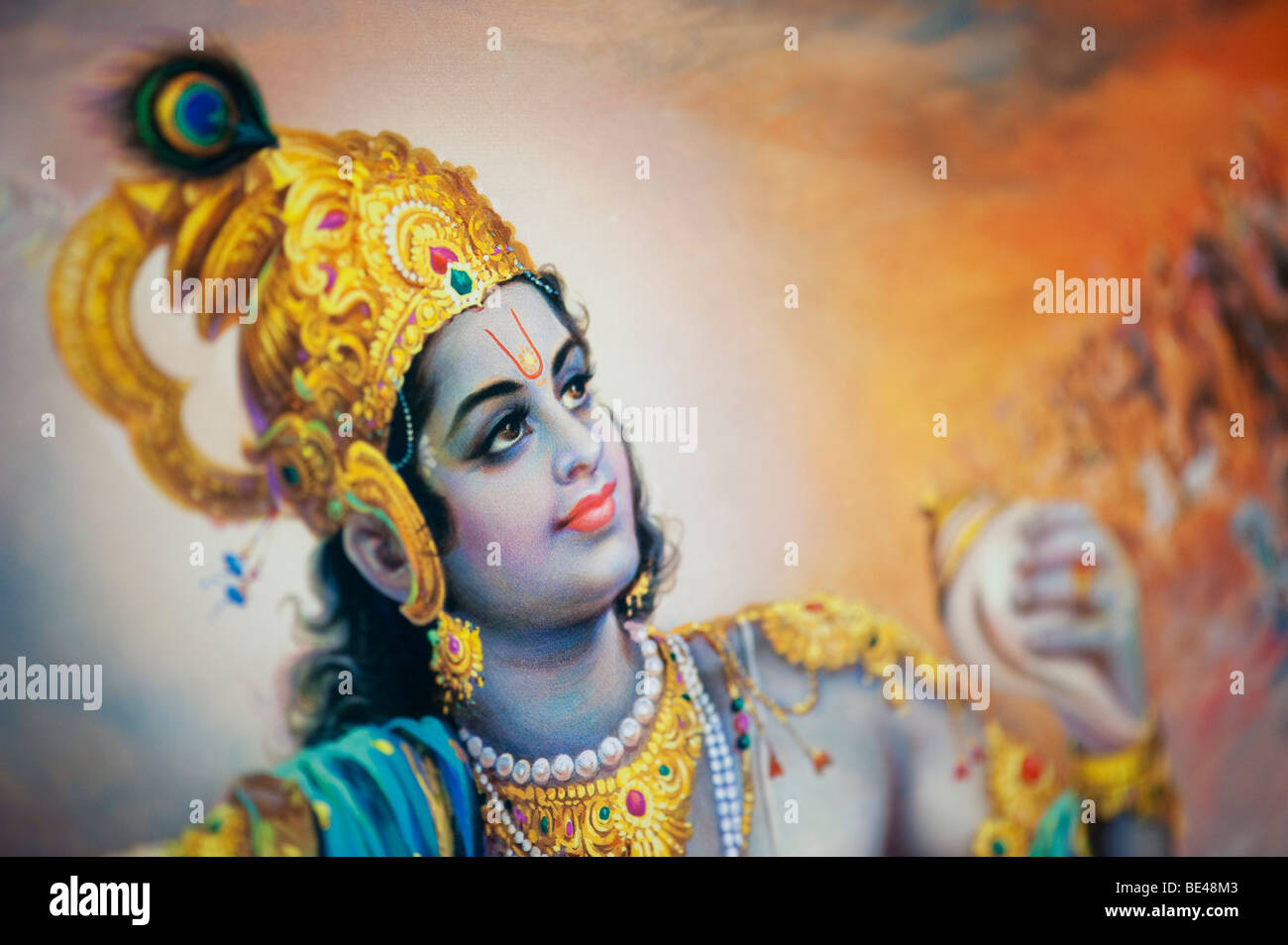 Lord Krishna depicted on an indian poster. India - Stock Image