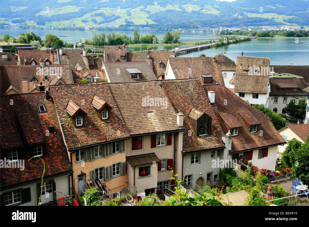 medieval houses in rapperswil, switzerland - Stock Image