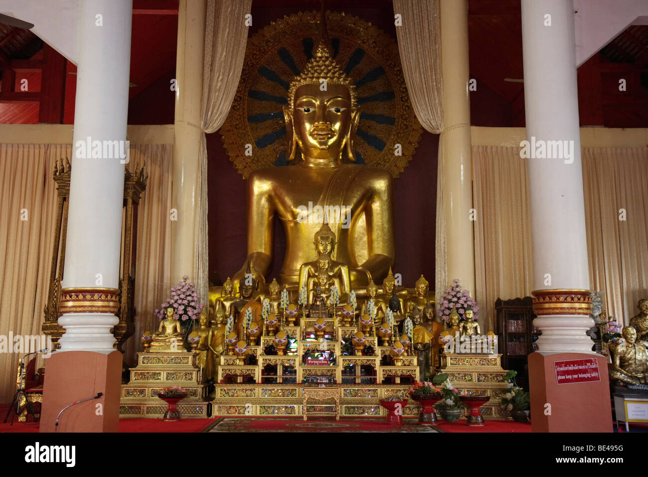 Buddha statues of various sizes, Wat Phra Sing, Chiang Mai, Northern Thailand, Thailand, Asia - Stock Image