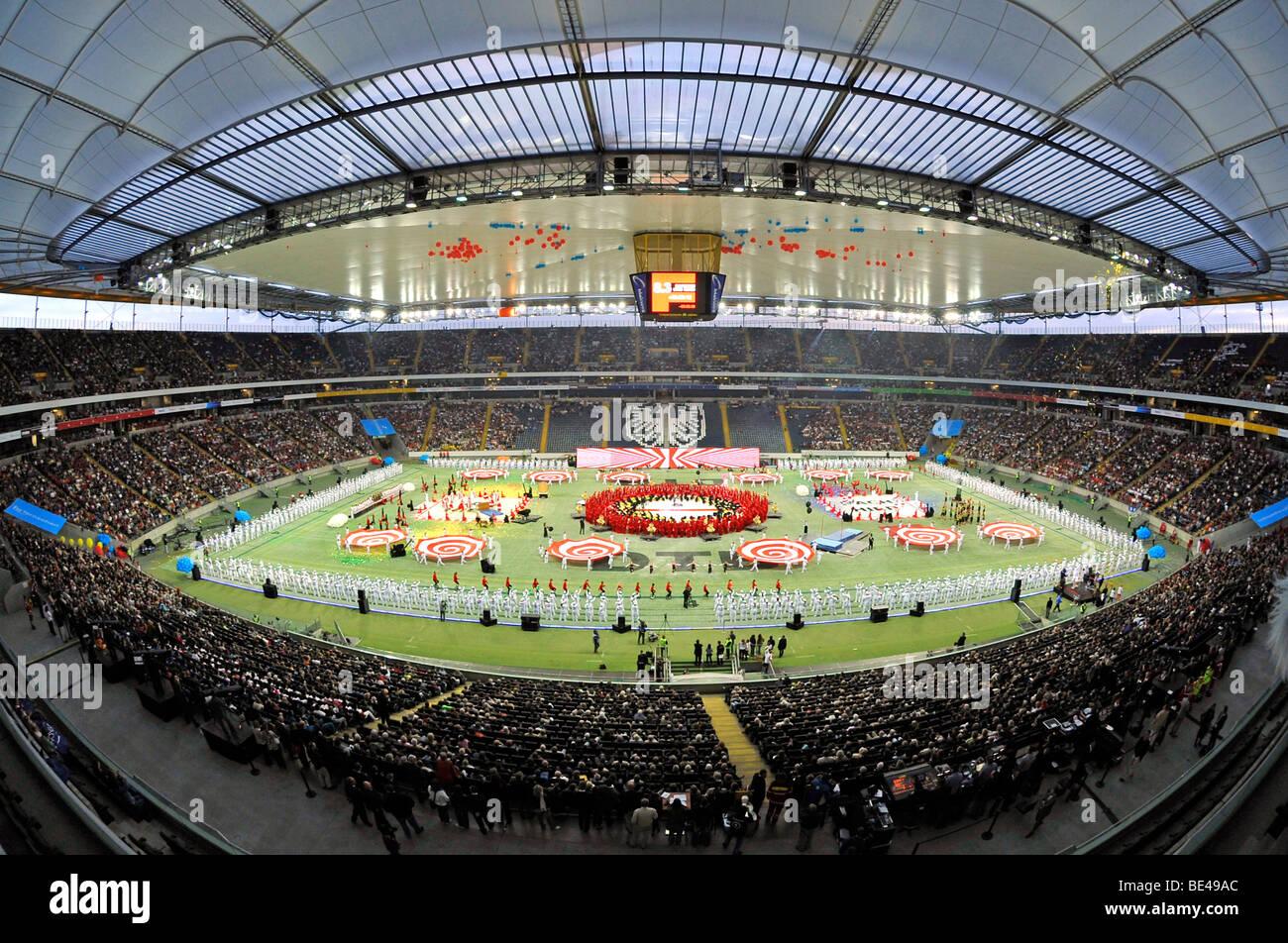 Stadium gala, Commerzbank Arena stadium, Internationales Deutsches Turnfest, International German Gymnastics Festival - Stock Image