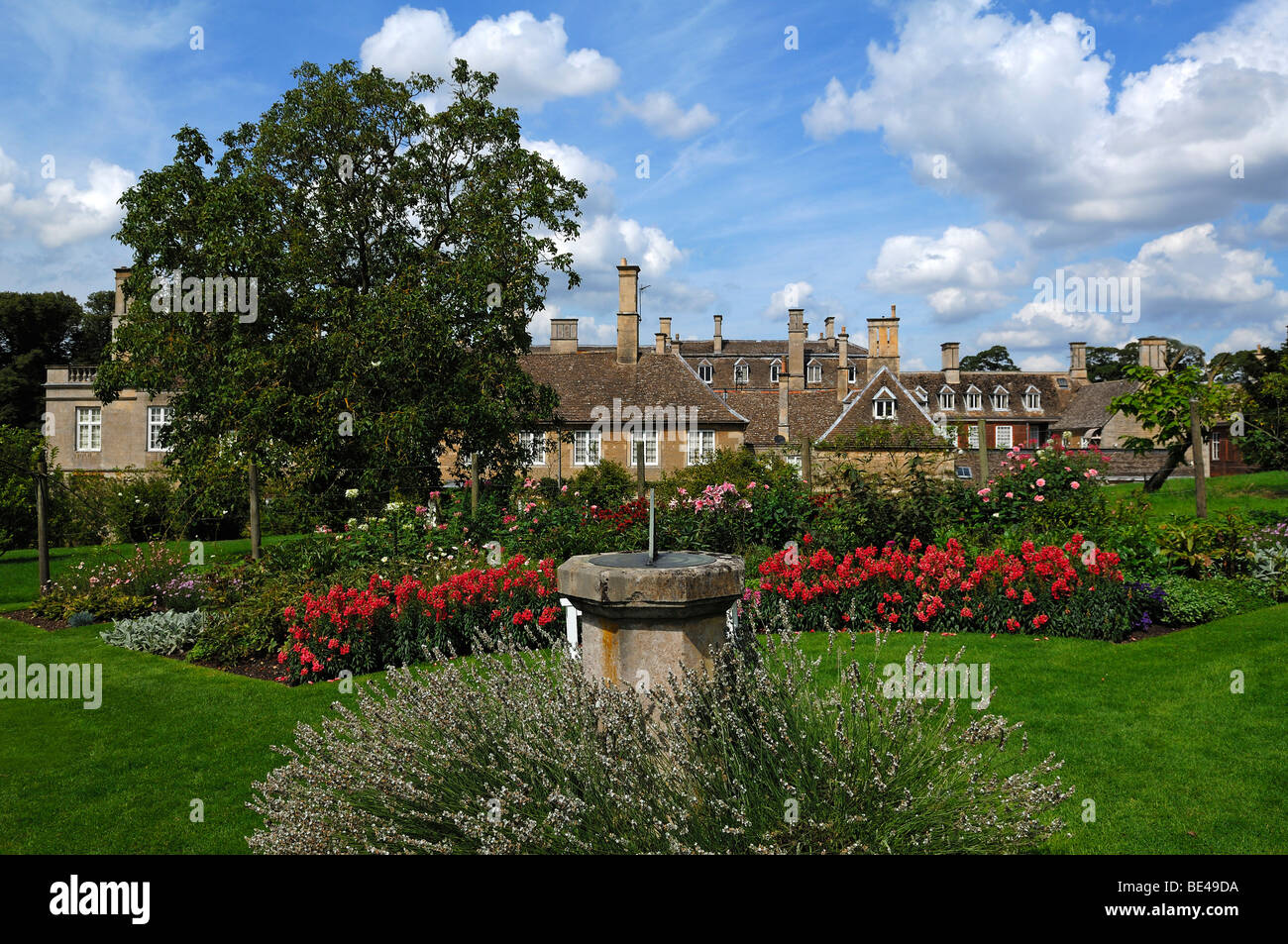 'Boughton House', in the front the rose garden with a sundial, Geddington, Kettering, Northamptonshire, - Stock Image