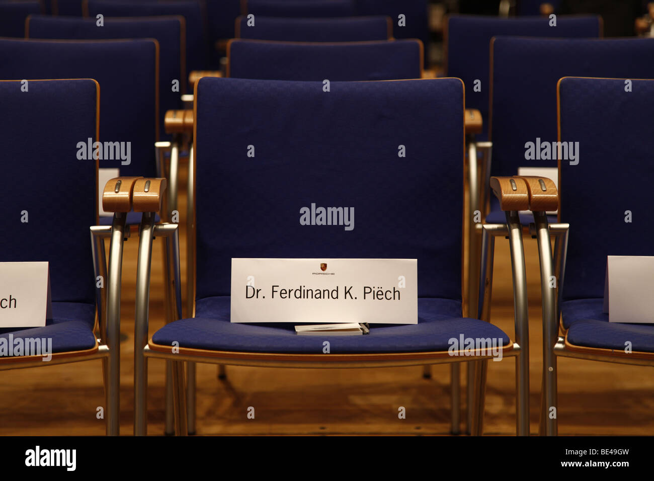 63th International Motor Show ( IAA ): Empty seat rows in a conference room with the name of Dr. Ferdinand Piech - Stock Image