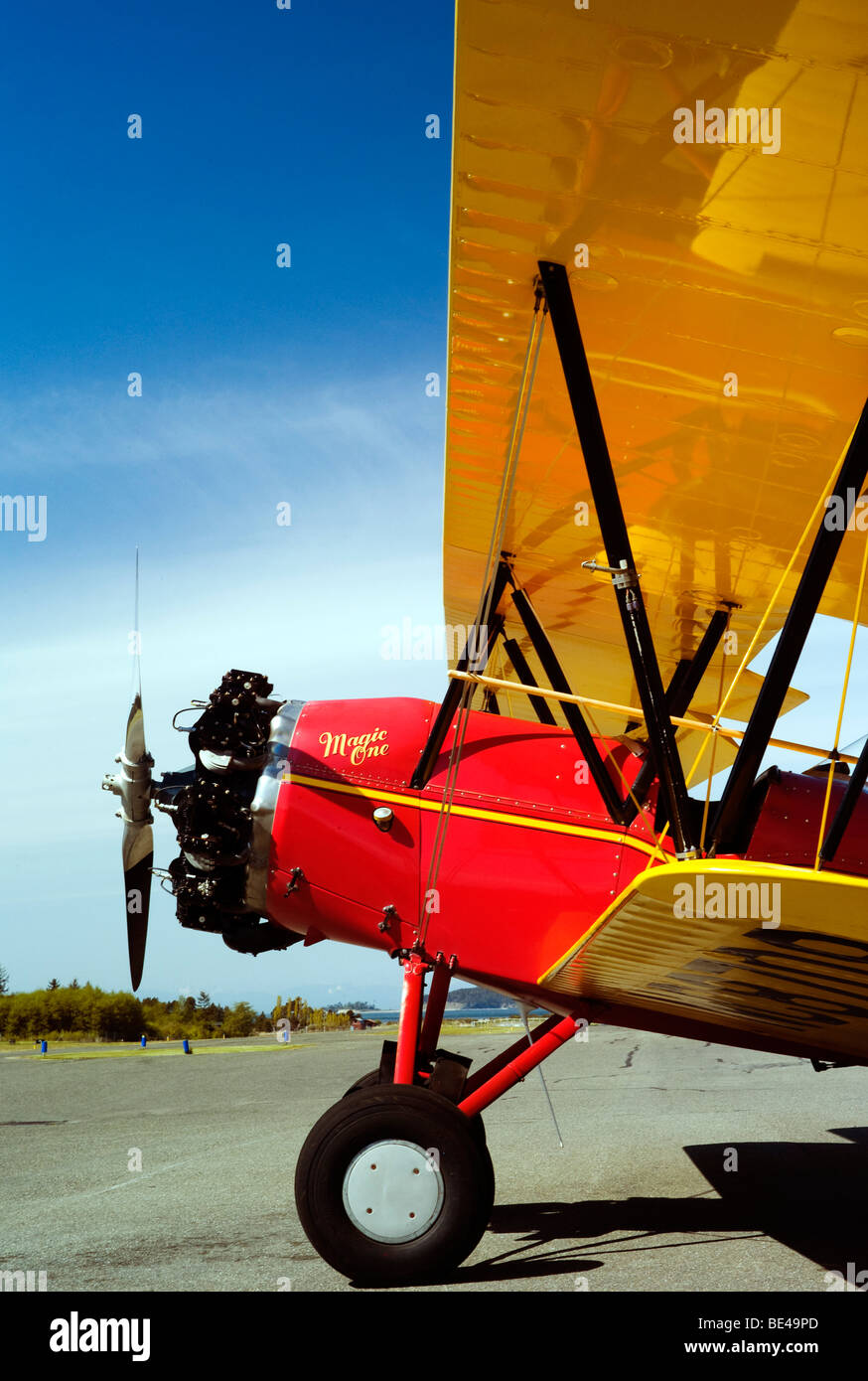 The old Waco bi-plane at the airport ready to fly and kiss the blue sky good morning. Stock Photo