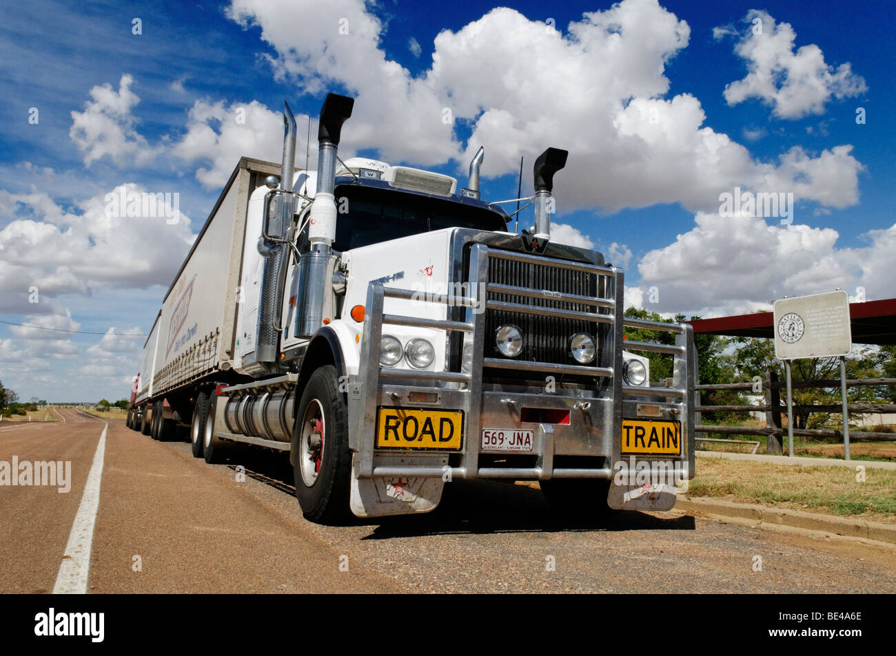 Huge roadtrain truck at Ilfracombe, Queensland Outback, Australia - Stock Image