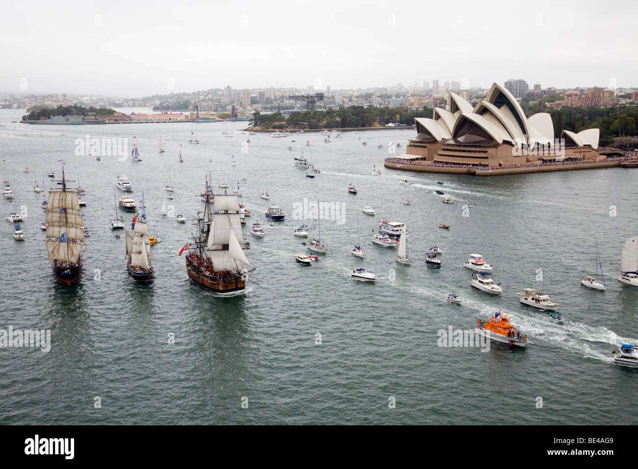 Annual Tall Ships Race regatta on Sydney Harbour - part of Australia Day celebrations. Sydney, New South Wales, - Stock Image