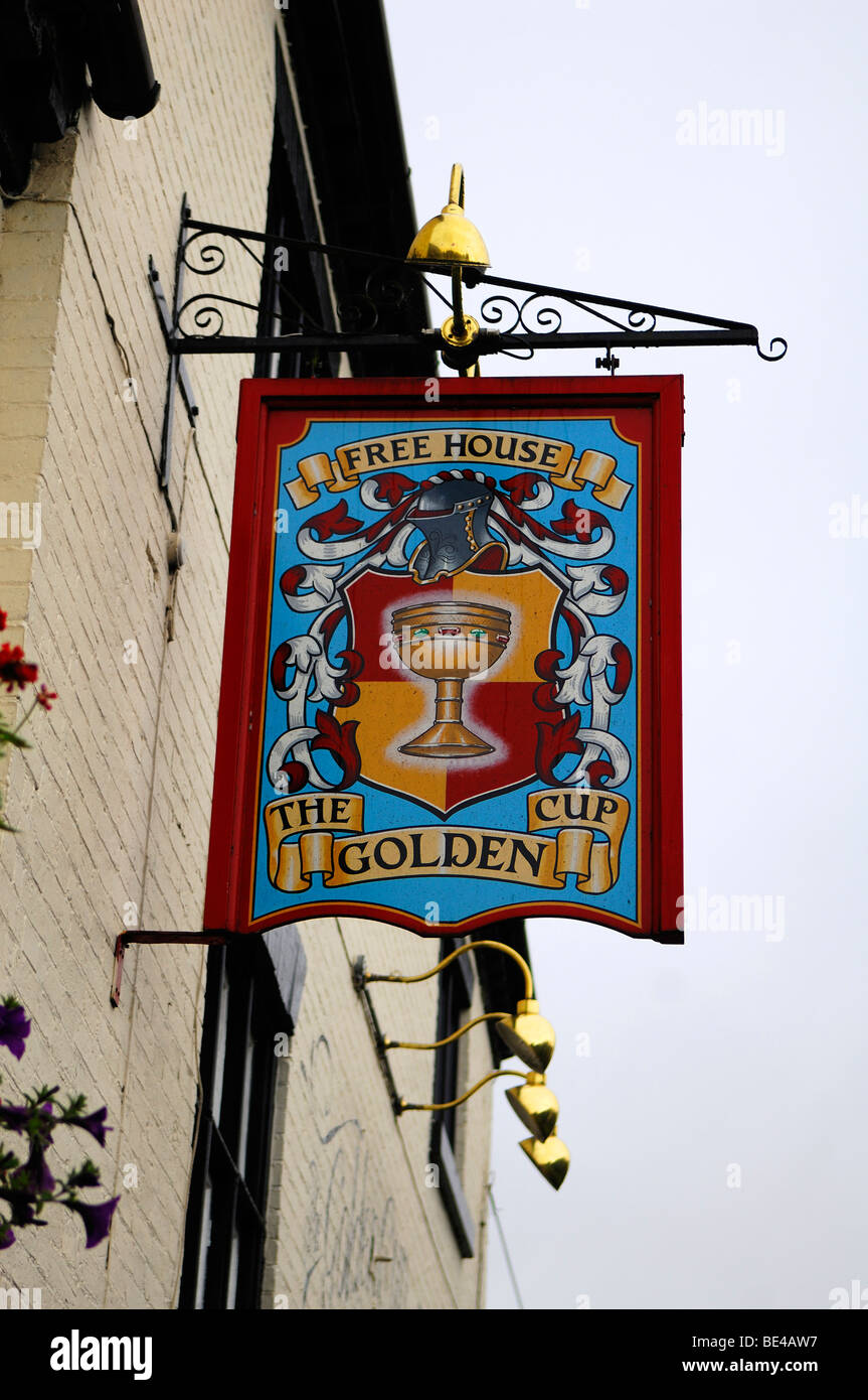 Inn sign, Free House, The Golden Cup, Main Street, Yoxall, Staffordshire, England, United Kingdom, Europe Stock Photo