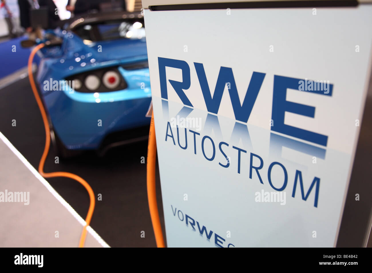 63th International Motor Show ( IAA ): A car of the manufacturer Tesla is being loaded with electric power by RWE - Stock Image
