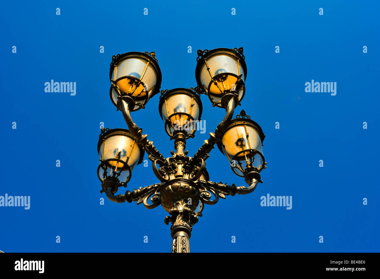 Six-armed gas streetlamp in front of the Kurhaus spa hotel, Baden-Baden, Black Forest, Baden-Wuerttemberg, Germany, - Stock Image