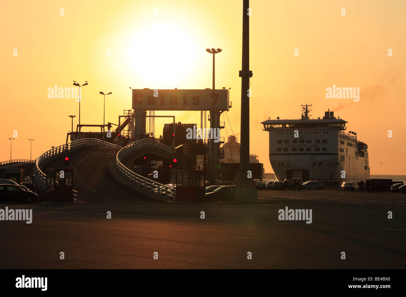 Cross Channel Ferry entering Calais. - Stock Image