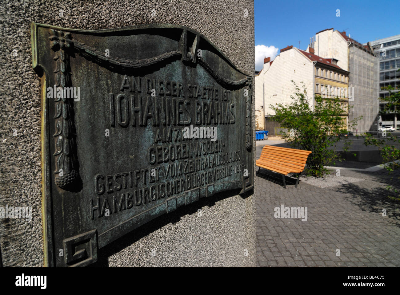 Monument at the birthplace of the composer Johannes Brahms in the Gaengeviertel area, Hamburg, Germany, Europe - Stock Image