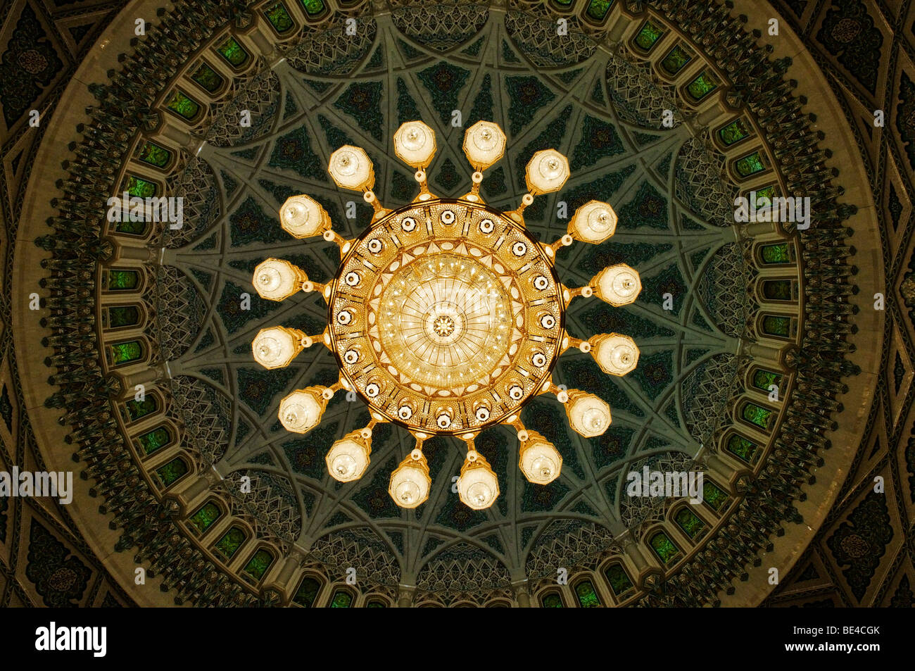 Huge chandelier in the central prayer hall at the Sultan Qaboos Grand Mosque, Muscat, Sultanate of Oman, Arabia, - Stock Image