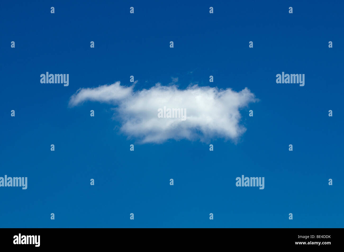 Individual cumulus cloud against a blue sky - Stock Image