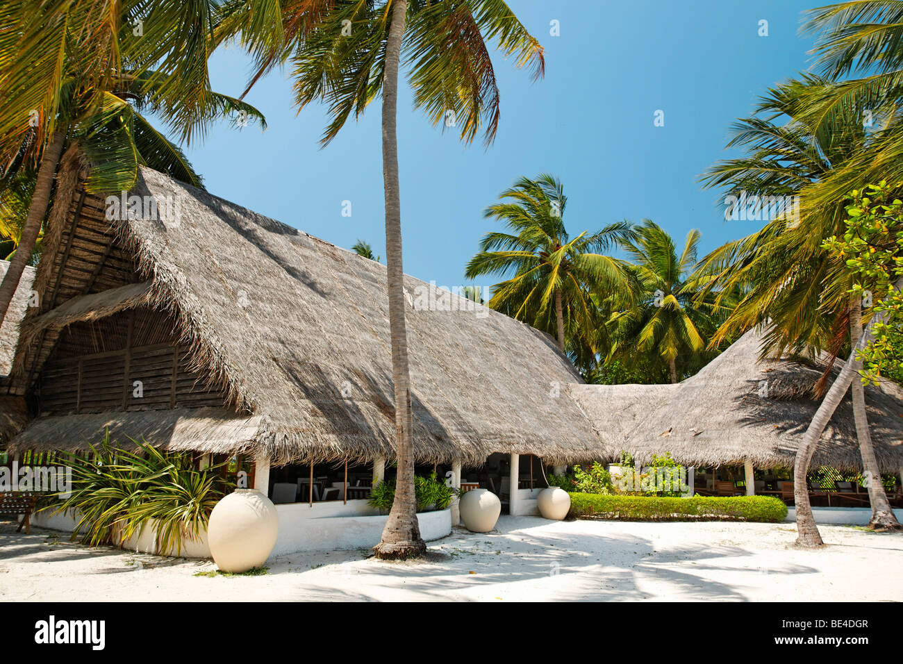 Main building lobby, bar, building, Maldive island, South Male Atoll, Maldives, Achipelago, Asia, Indian Ocean - Stock Image