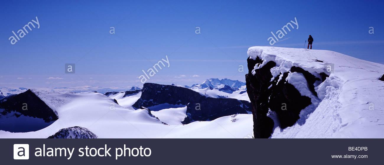 Climber at Galdhopiggen, Norway - Stock Image