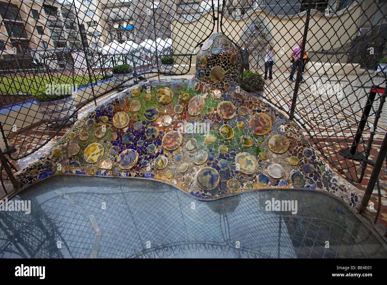 Barcelona Gaudi Casa Batllo Patio And Rear Facade Stock