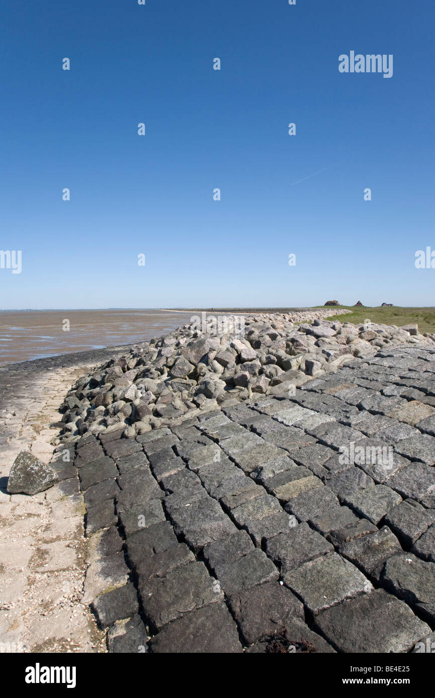 Bank reinforcement of the Hallig Nordstrandischmoor holm in the Nationalpark Schleswig Holsteinisches Wattenmeer, - Stock Image