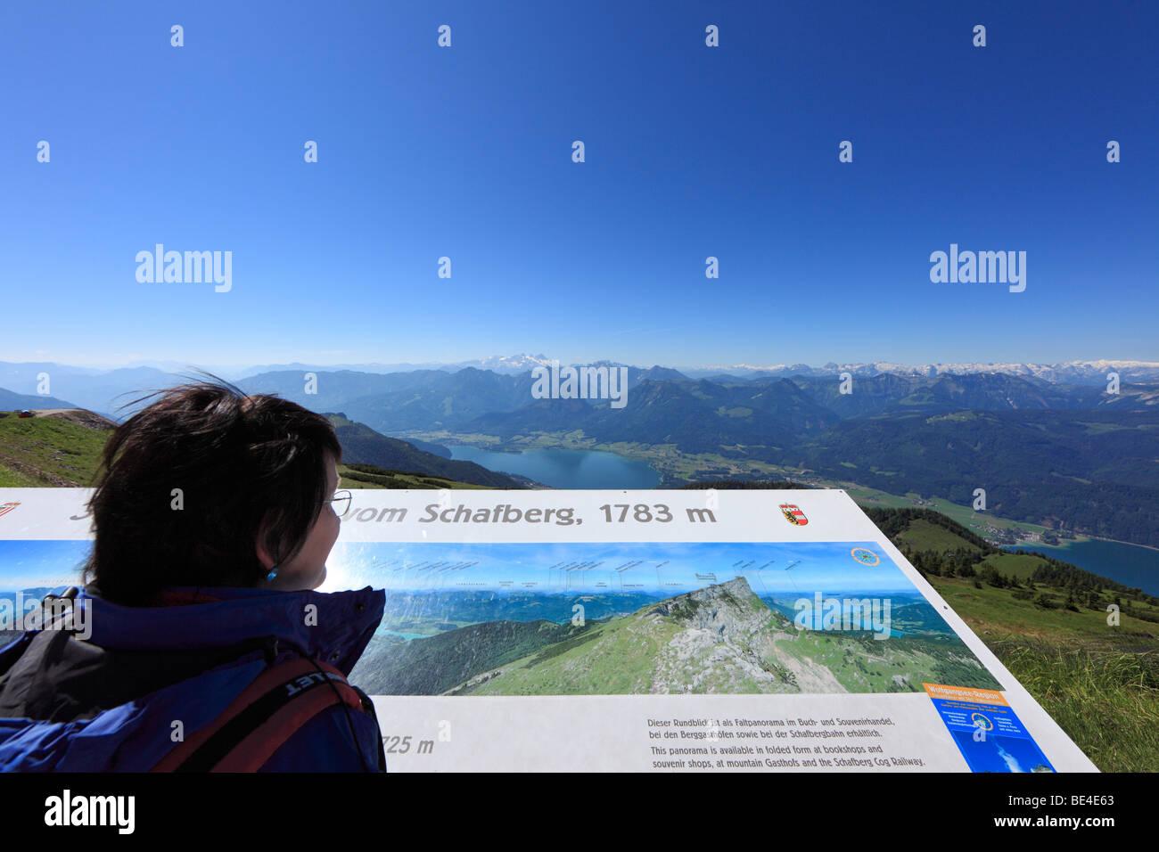 Panoramic map on Mt. Schafberg, Salzkammergut region, Salzburg Land state, Austria, Europe - Stock Image