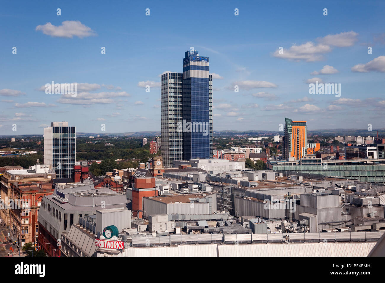 Corporation Street, Manchester, England, UK, Europe. Skyline view north from The Wheel of Manchester in the city - Stock Image