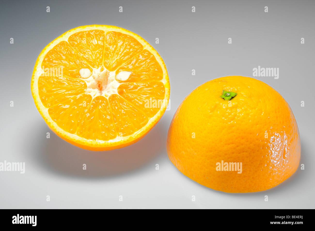 Two orange halves Stock Photo