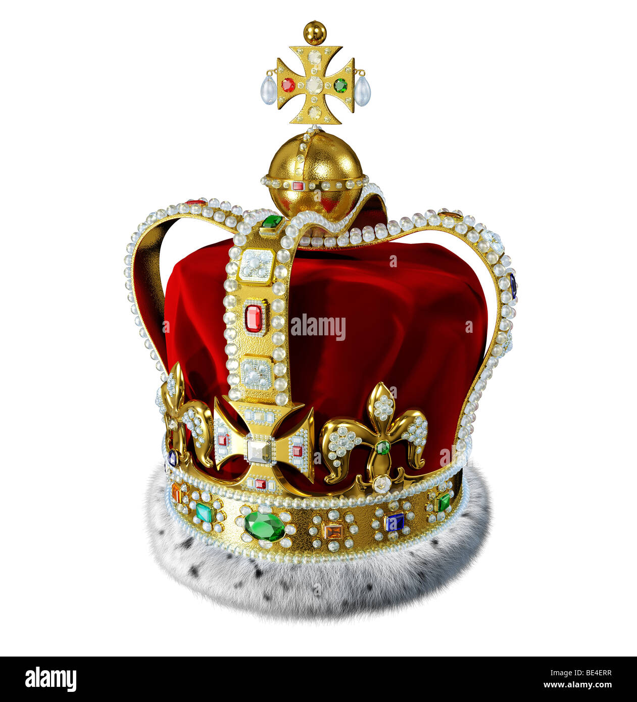 King crown with velvet, ermine, jewels and precious gems decorations - Stock Image